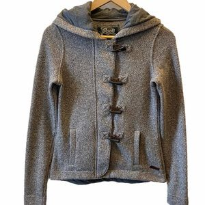 Roots Full Zip Hooded Cardigan with Toggles, sz S